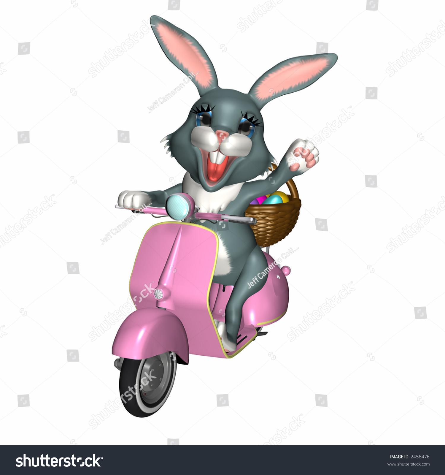 Easter Bunny Delivering His Basket Eggs Stock Illustration 2456476