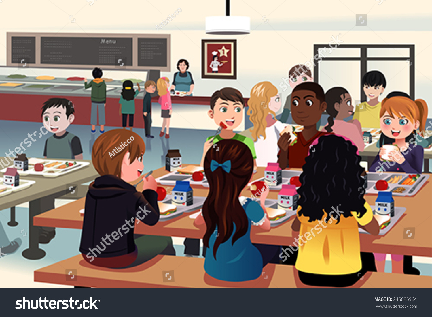 vector illustration kids eating school cafeteria stock vector