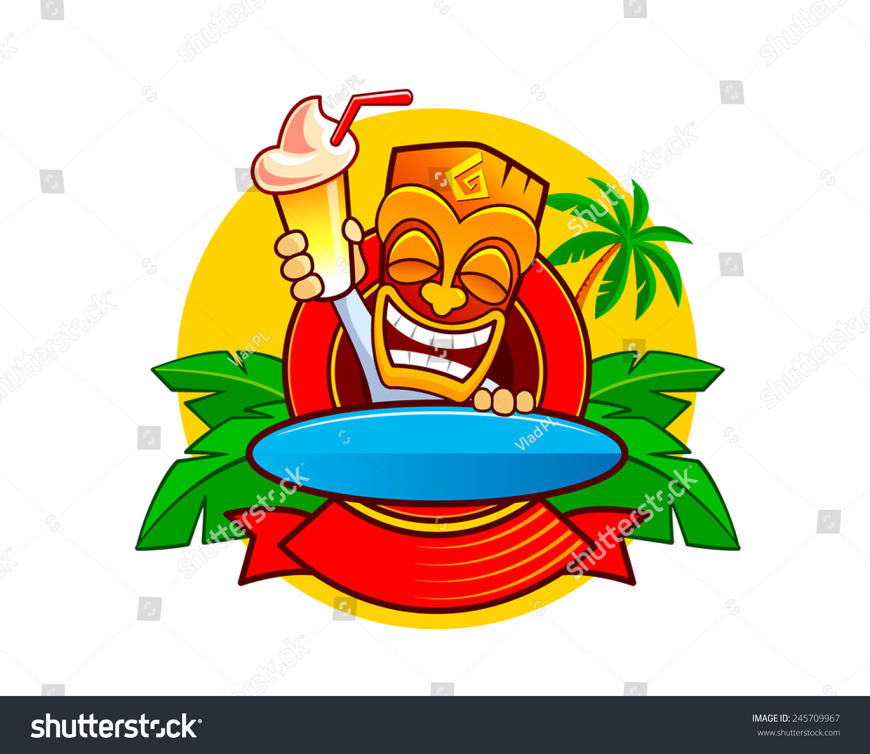 smiling hawaiian totem tiki mask cocktail stock vector royalty free