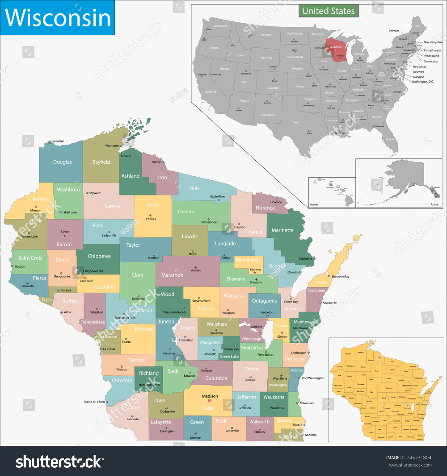 Map Wisconsin State Designed Illustration Counties Stock - Map wisconsin