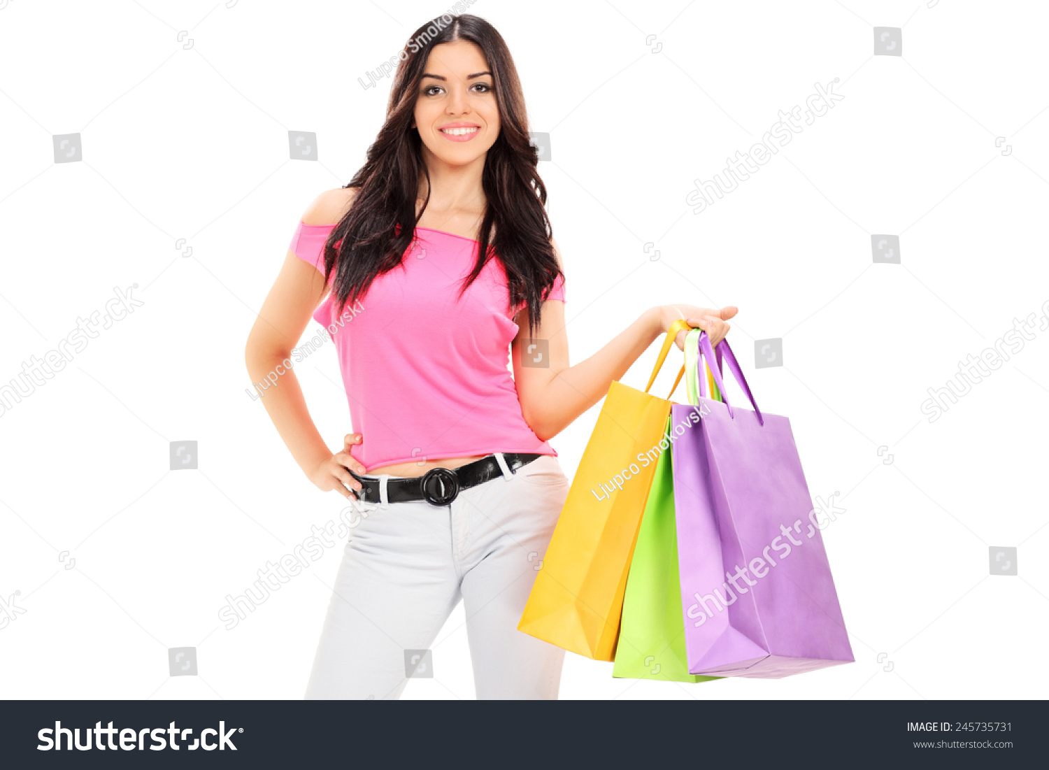 Woman posing with shopping bags isolated on white background full - Woman Posing With Shopping Bags Isolated On White Background