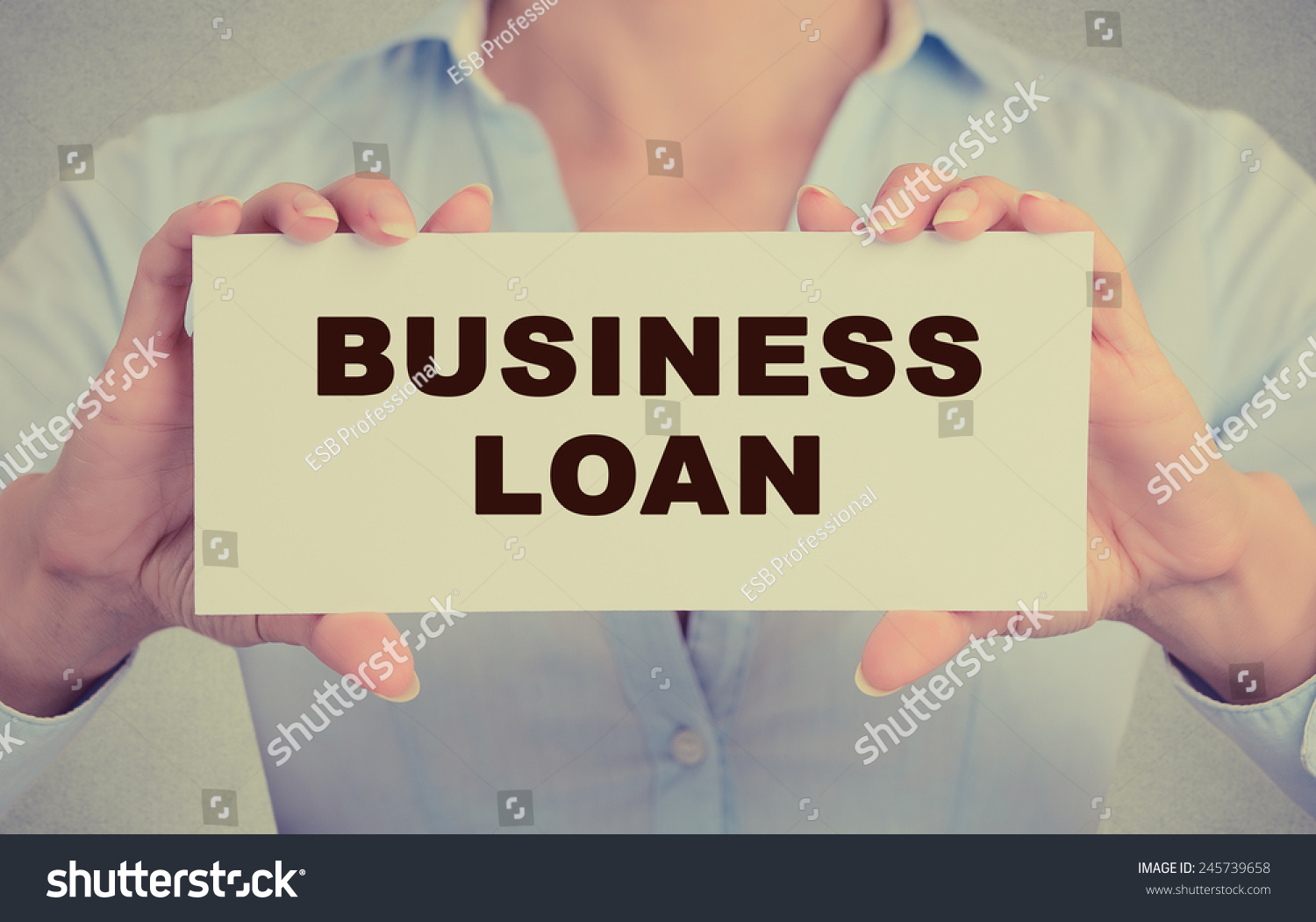 Business Woman Hands Holding White Card Stock Photo ...