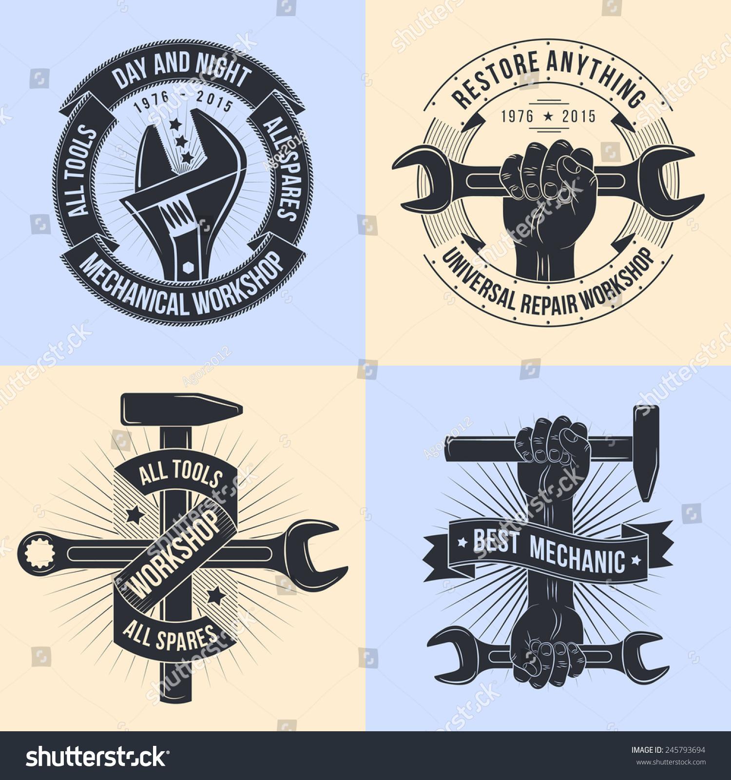 Logo Repair Workshop Old School Style Stock Vector ...