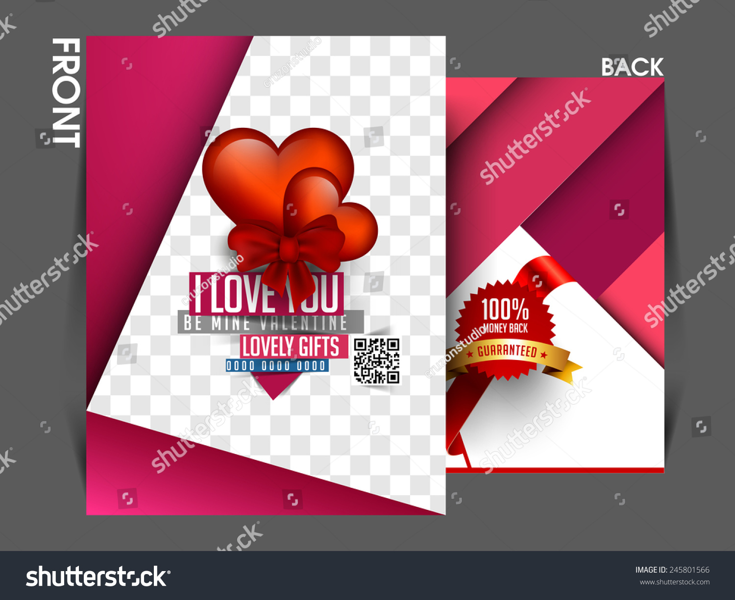 Valentines Day Offer Flyer Template Eps 10 Stock Vector Royalty
