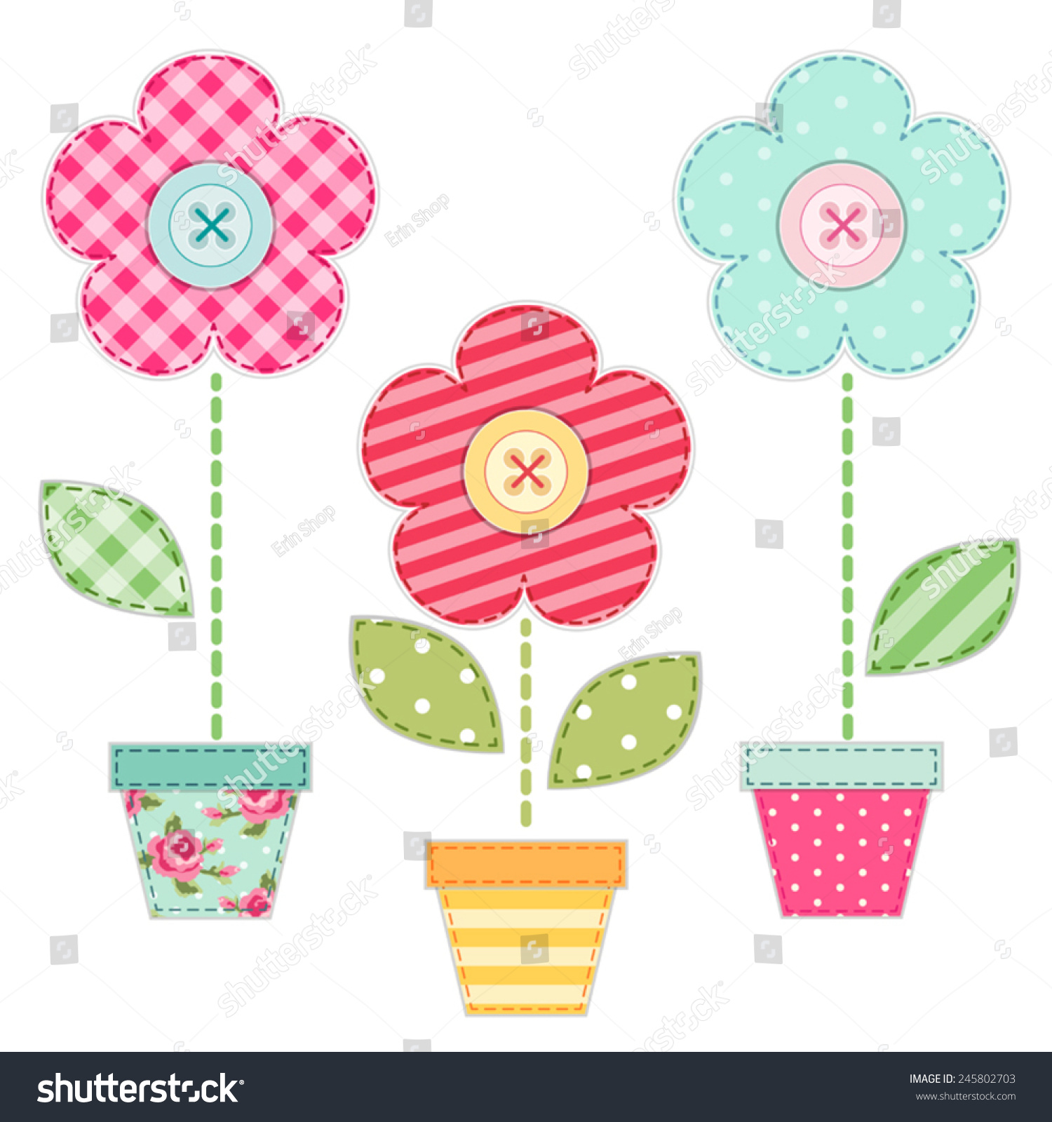 Cute spring flower - Cute Retro Spring Flowers In Pots As Fabric Patch Applique