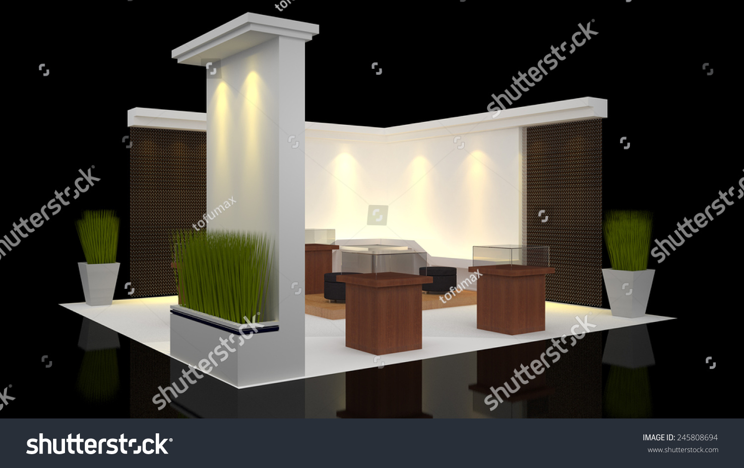 Exhibition Stall Design Vector Free Download : Modern booth exhibition design blank banner stock