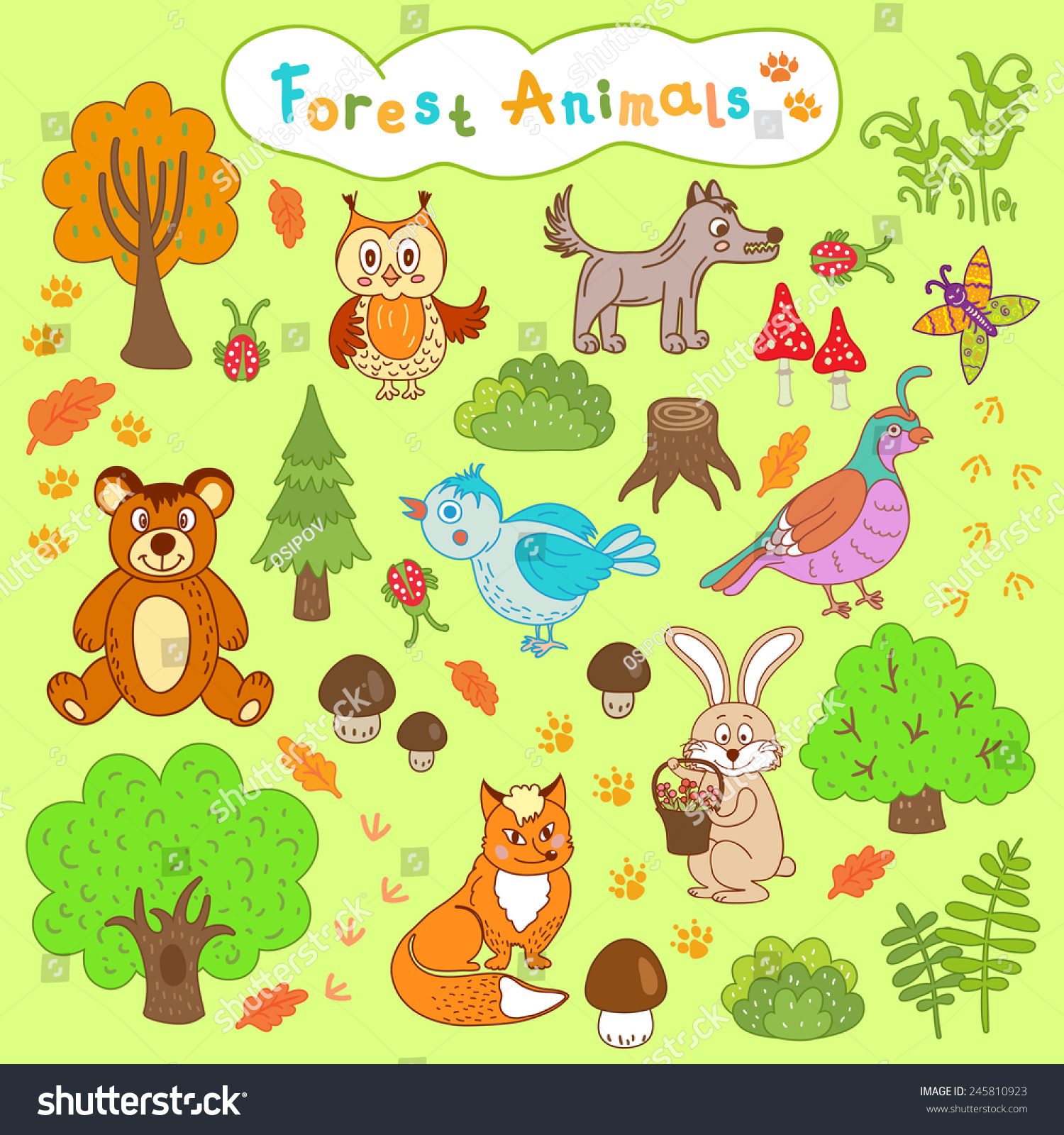 Uncategorized Childrens Animal Drawings childrens drawings forest animals cartoon set stock vector of cute wild animals