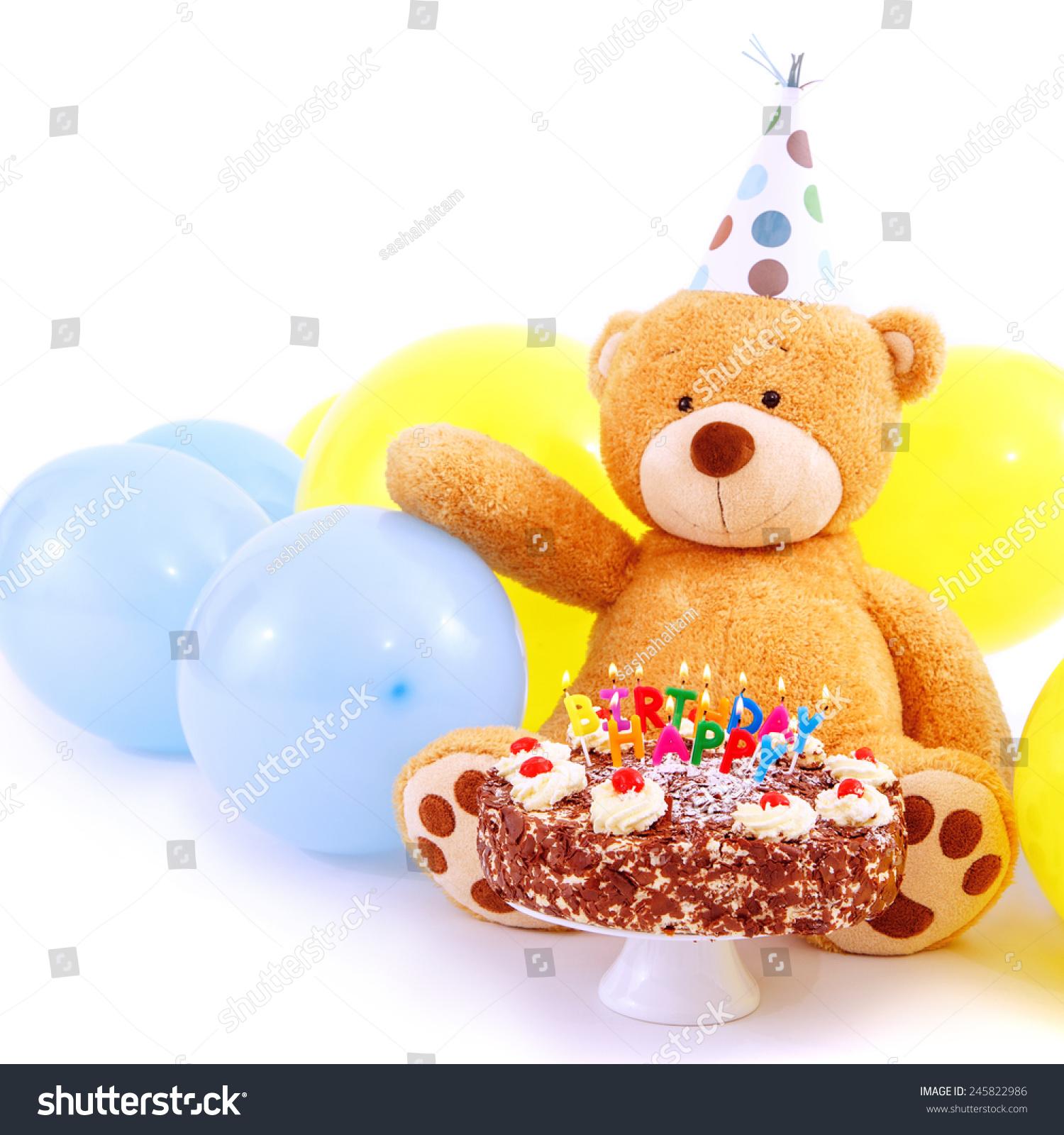 Teddy Bear Birthday Cap Balloons Cake Stock Photo Edit Now