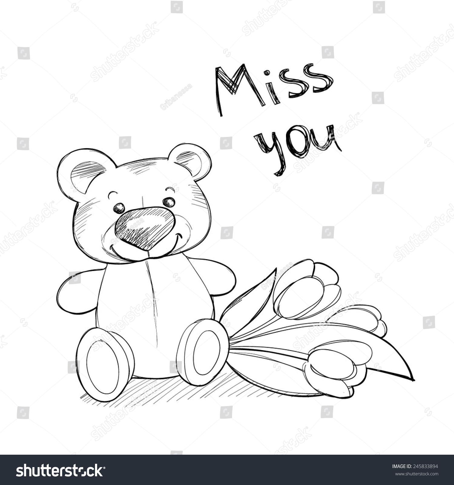 cute teddy bear flowers vector line stock vector 245833894 Teddy Bear Vector Graphics Teddy Bear Outline Vector