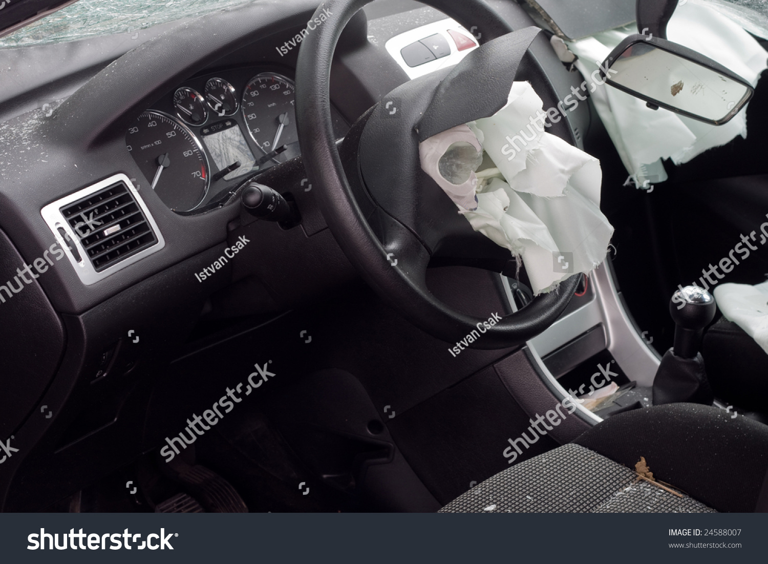 look inside a wrecked car with airbag deployed stock photo 24588007 shutterstock. Black Bedroom Furniture Sets. Home Design Ideas