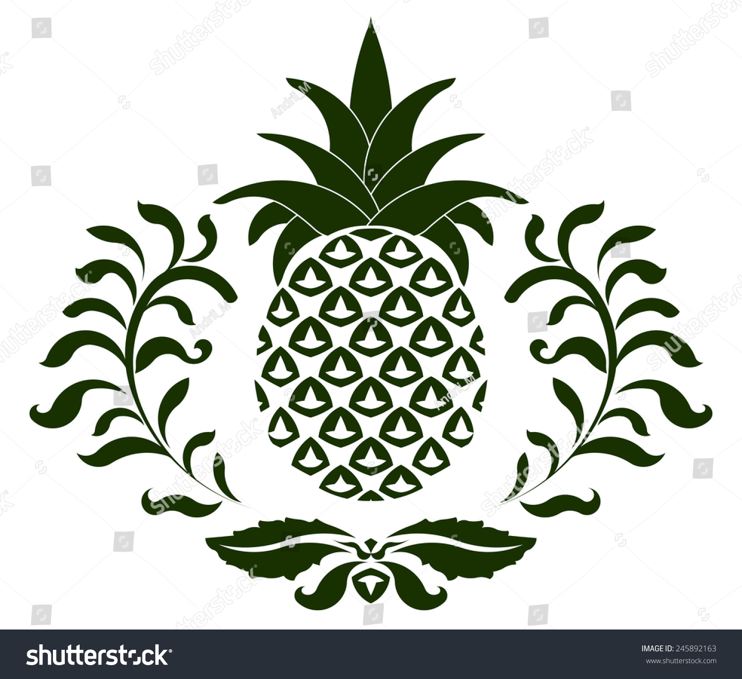 Pineapple Icon Symbol Hospitality Vector Illustration Stock Vector