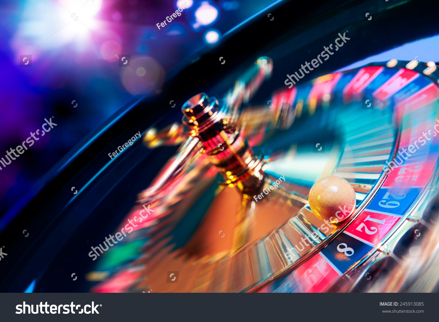 high contrast image of casino roulette in motion #245913085