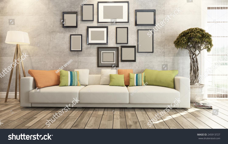 Living room interior design 3d rendering stock photo for Living room ideas 3d