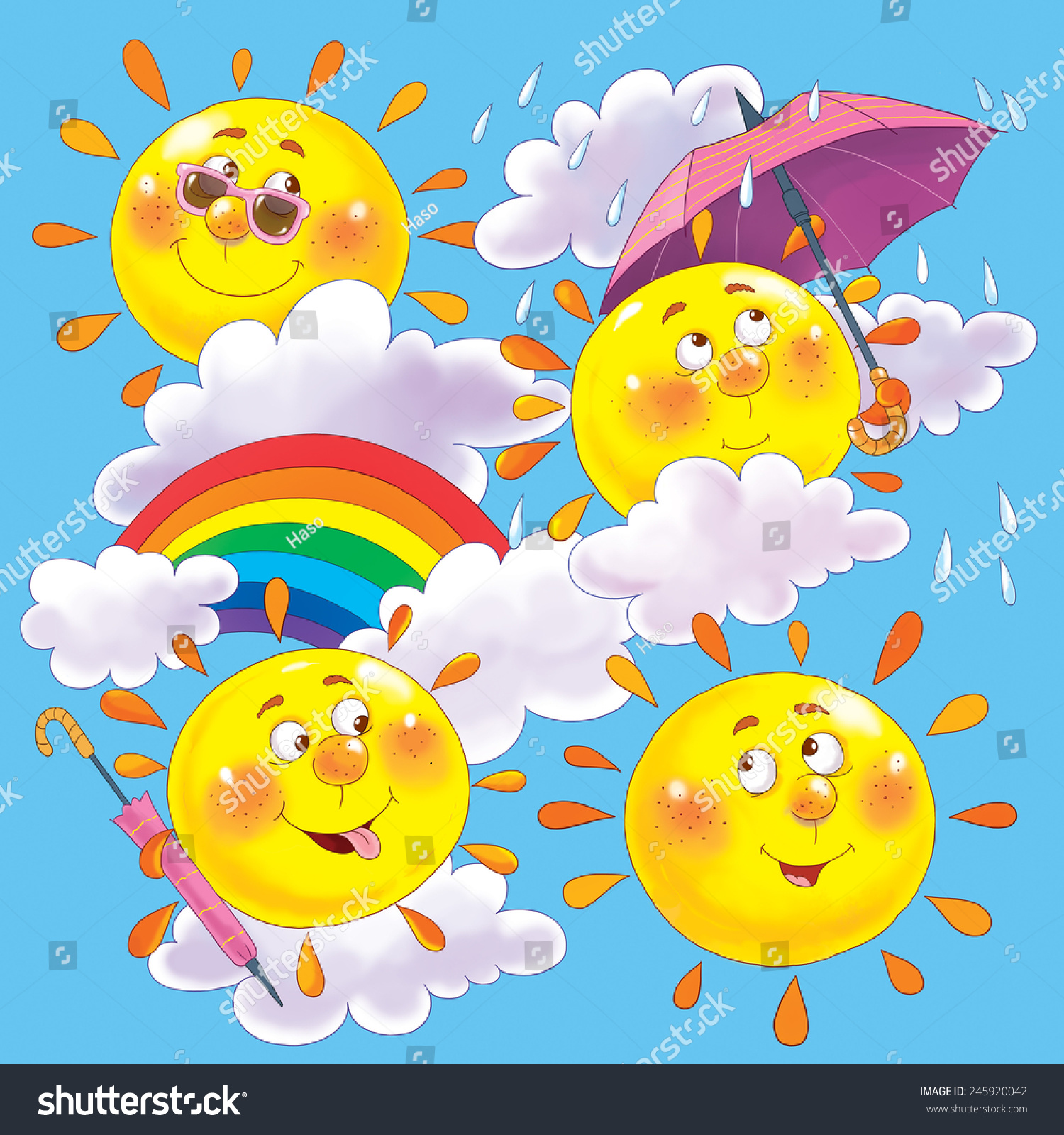 Different Weather Conditions Seamless pattern. cute sun with different ...