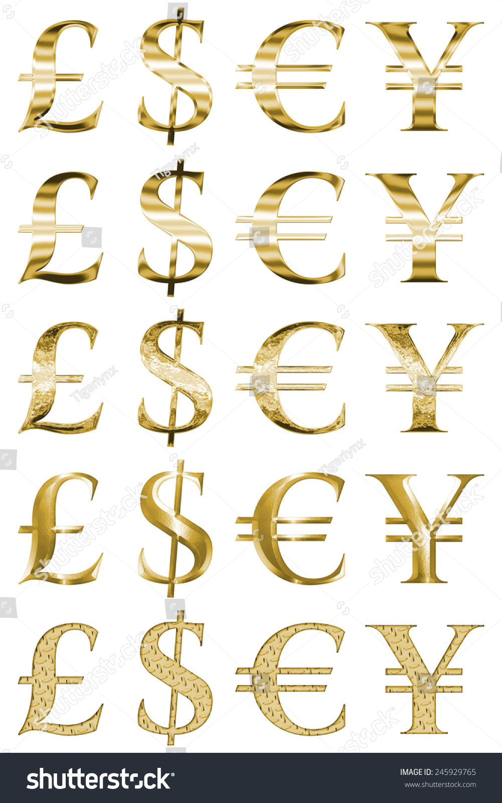 Set 20 Currency Money Symbols Gold Stock Illustration Royalty Free