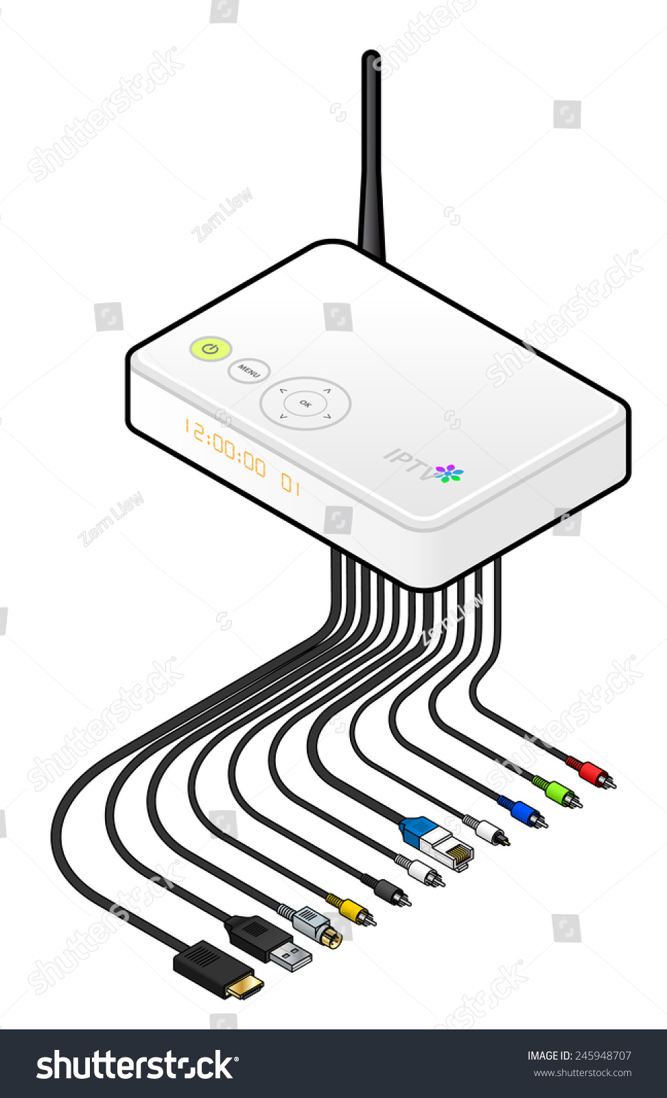 Large White Iptv Set Top Box Stock Vector Royalty Free 245948707 Wiring Diagram A Or Integrated Receiver Decoder With Cables Connectors And