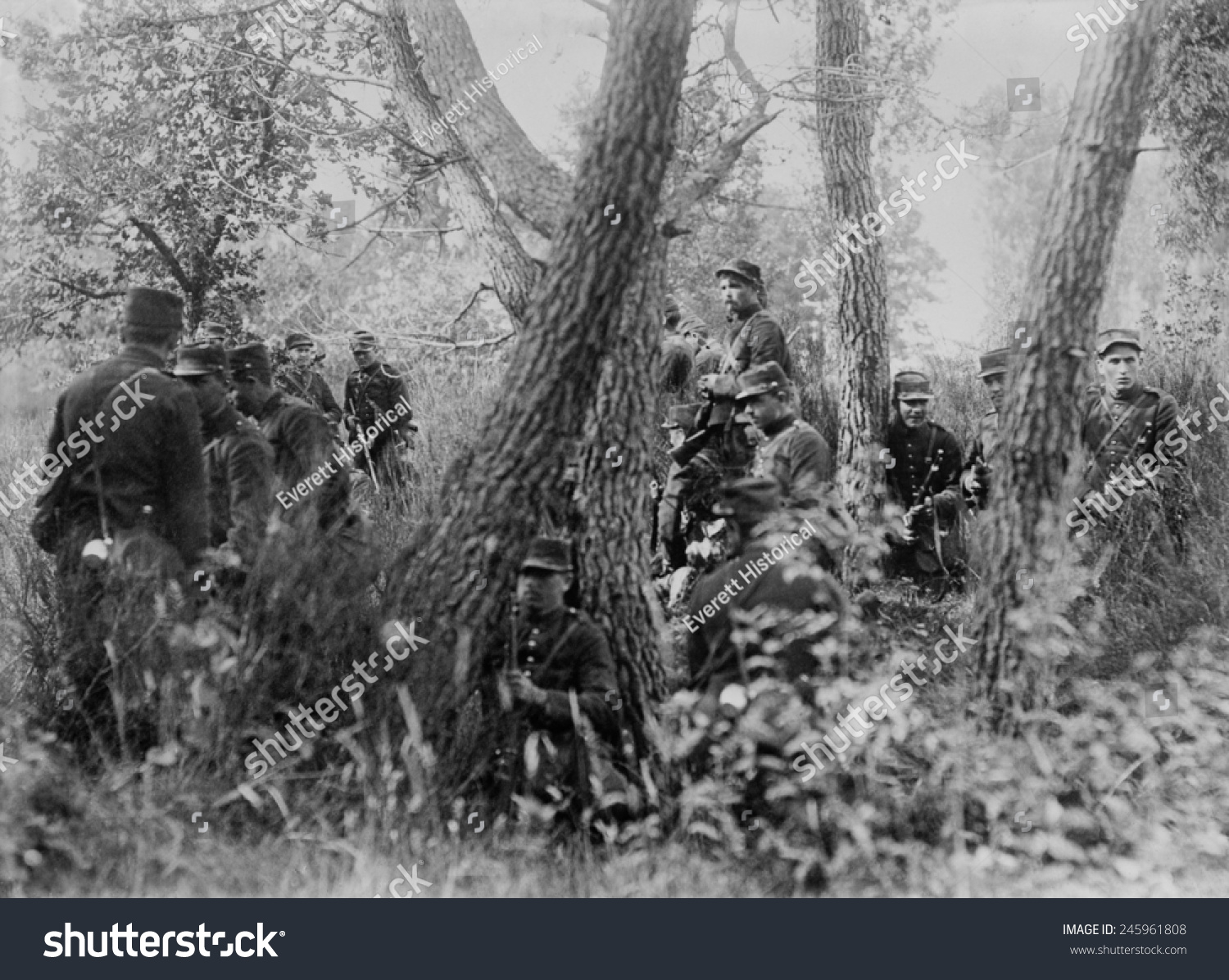 WWI French Soldiers Woods During First Stock Illustration 245961808 ...
