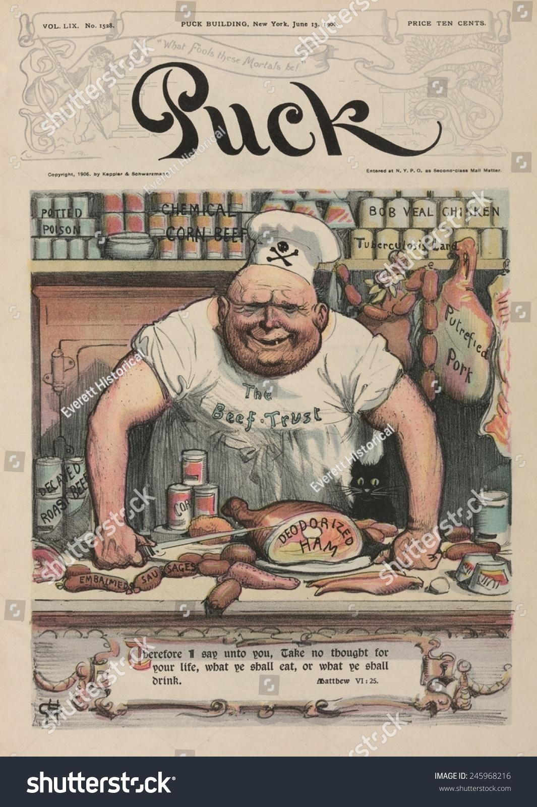 Meat market 1906 cartoon by carl stock illustration for Bob s fish market