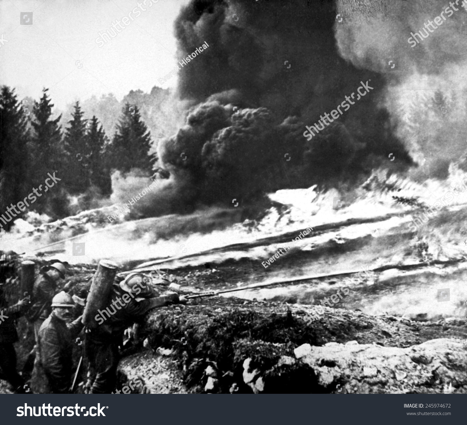 French Soldiers Using Liquid Fire Front Stock Illustration 245974672 ...