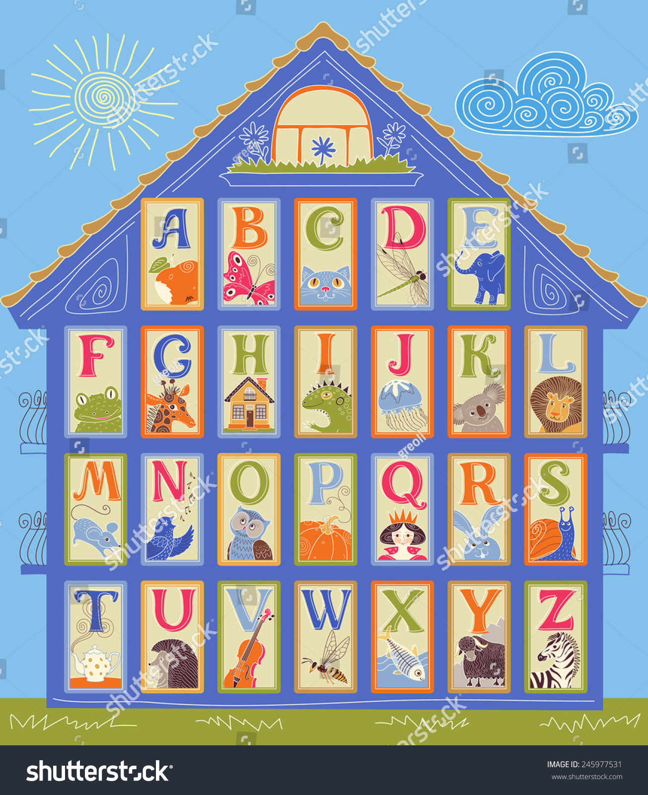 english alphabet cards shape house letters stock vector 245977531