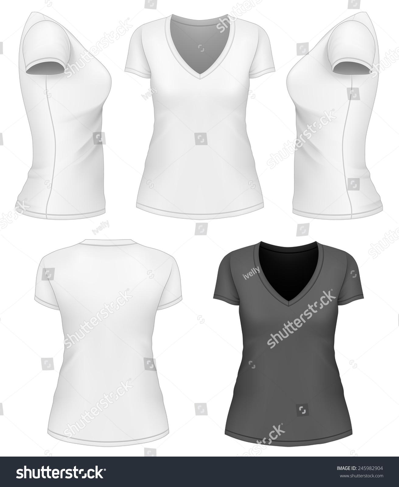 Design shirt v neck - Women S V Neck T Shirt Design Template Vector Illustration