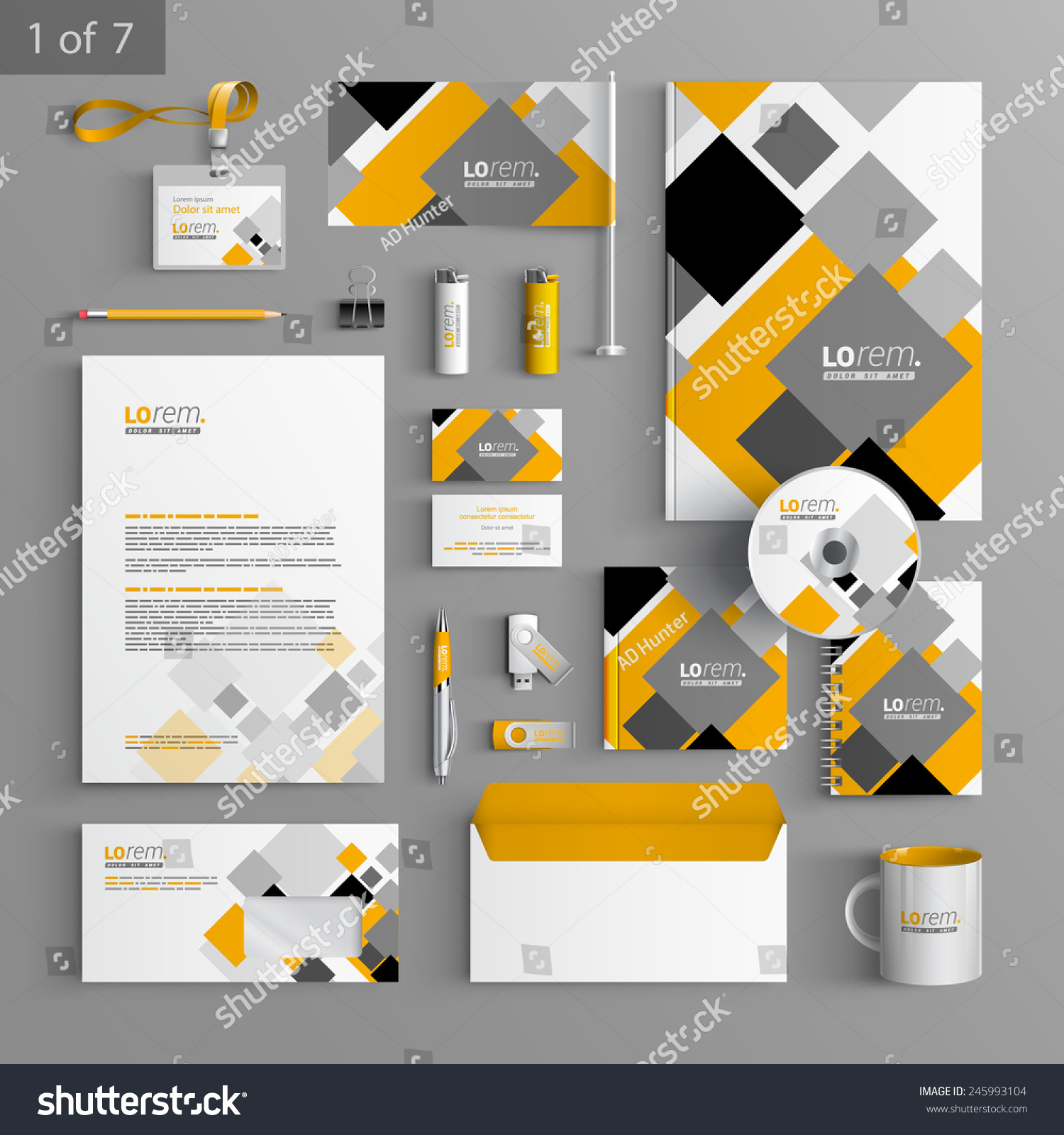 Blank Stationery And Corporate Identity Template Consist: White Corporate Identity Template Design Gray Stock Vector