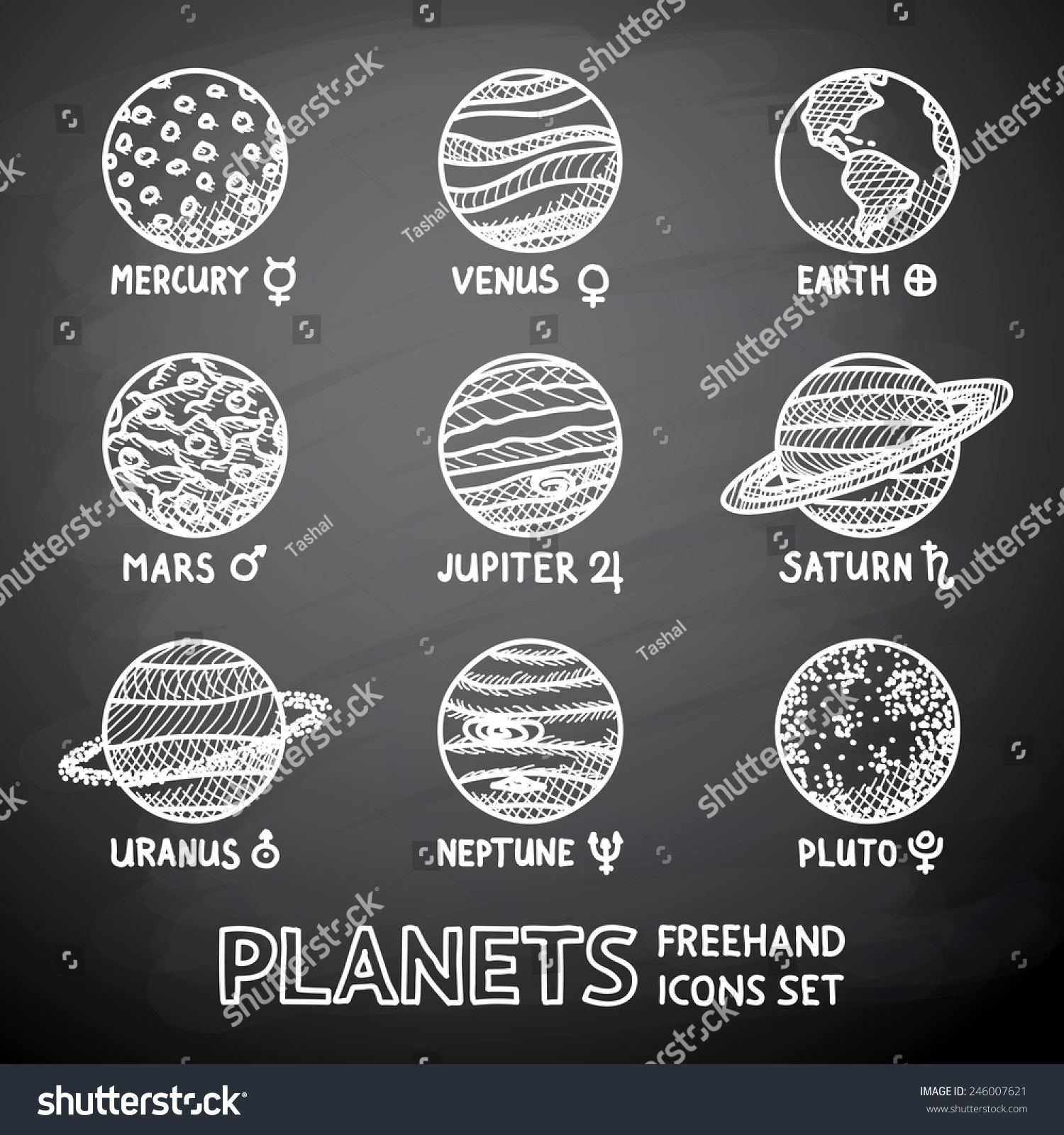 Set hand drawn on chalkboard planet stock vector 246007621 set of hand drawn on a chalkboard planet icons with names and astronomical symbols mercury buycottarizona