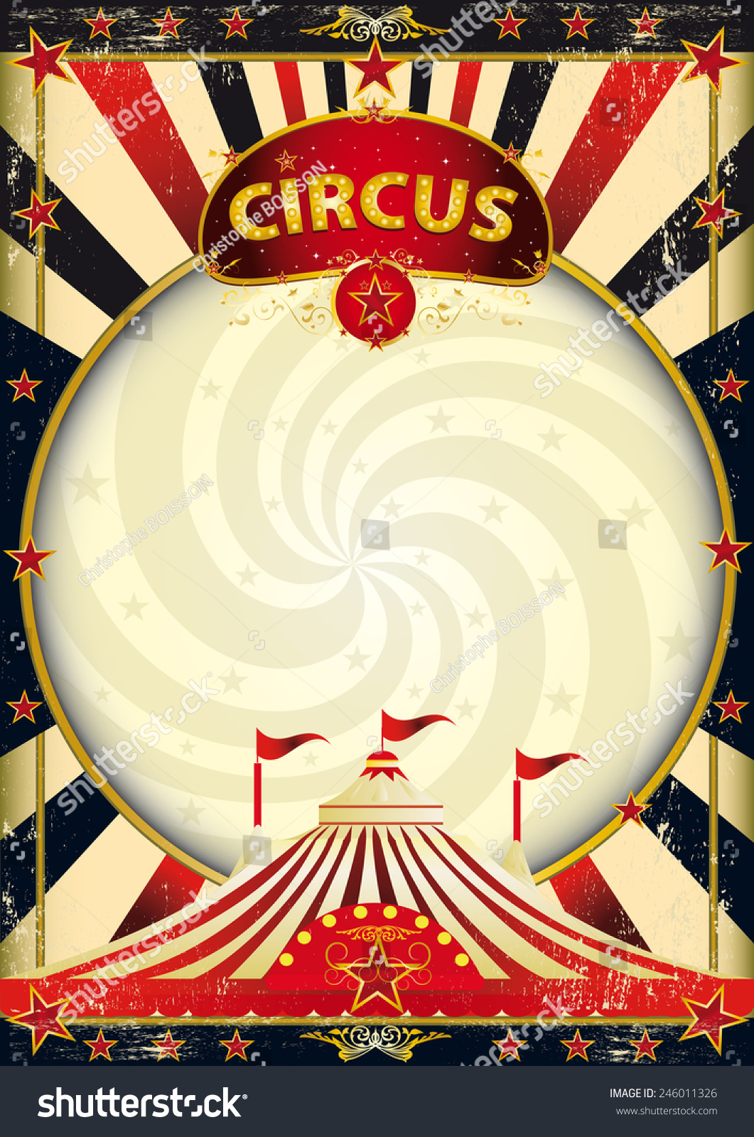 Vintage Circus Poster Background Big Top Sunbeams Circu...