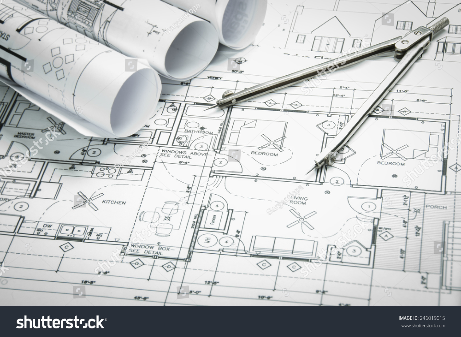 Architecture Drawing Instruments architectural blueprints blueprint rolls drawing instruments stock