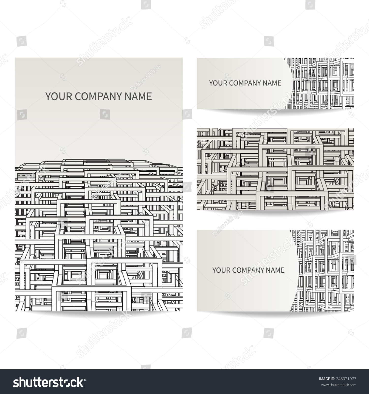 Set business card invitation card templates stock vector 246021973 set of business card and invitation card templates architecture and construction concept vector design stopboris Images