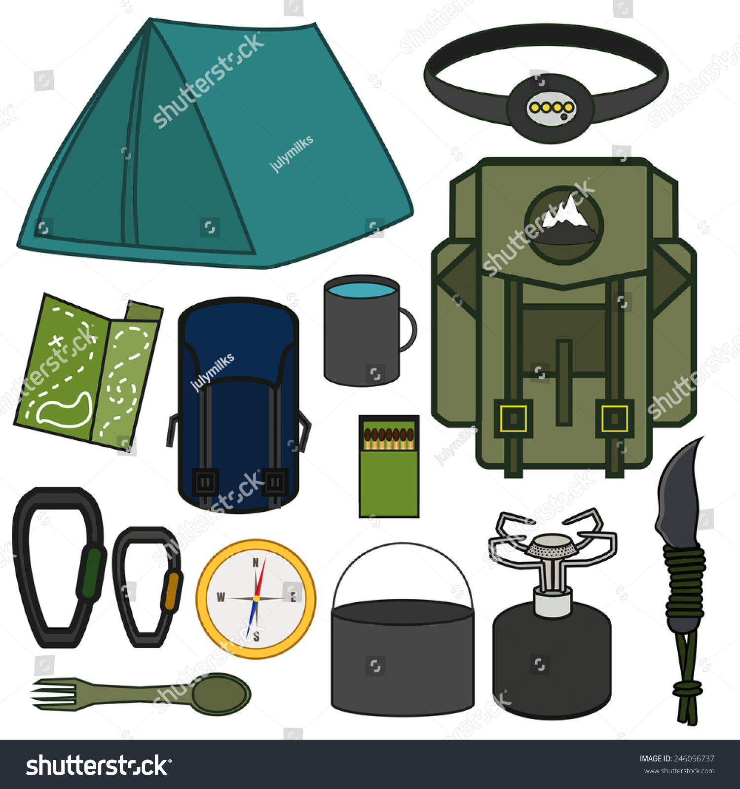 Vector Set With Camping Travel Equipment