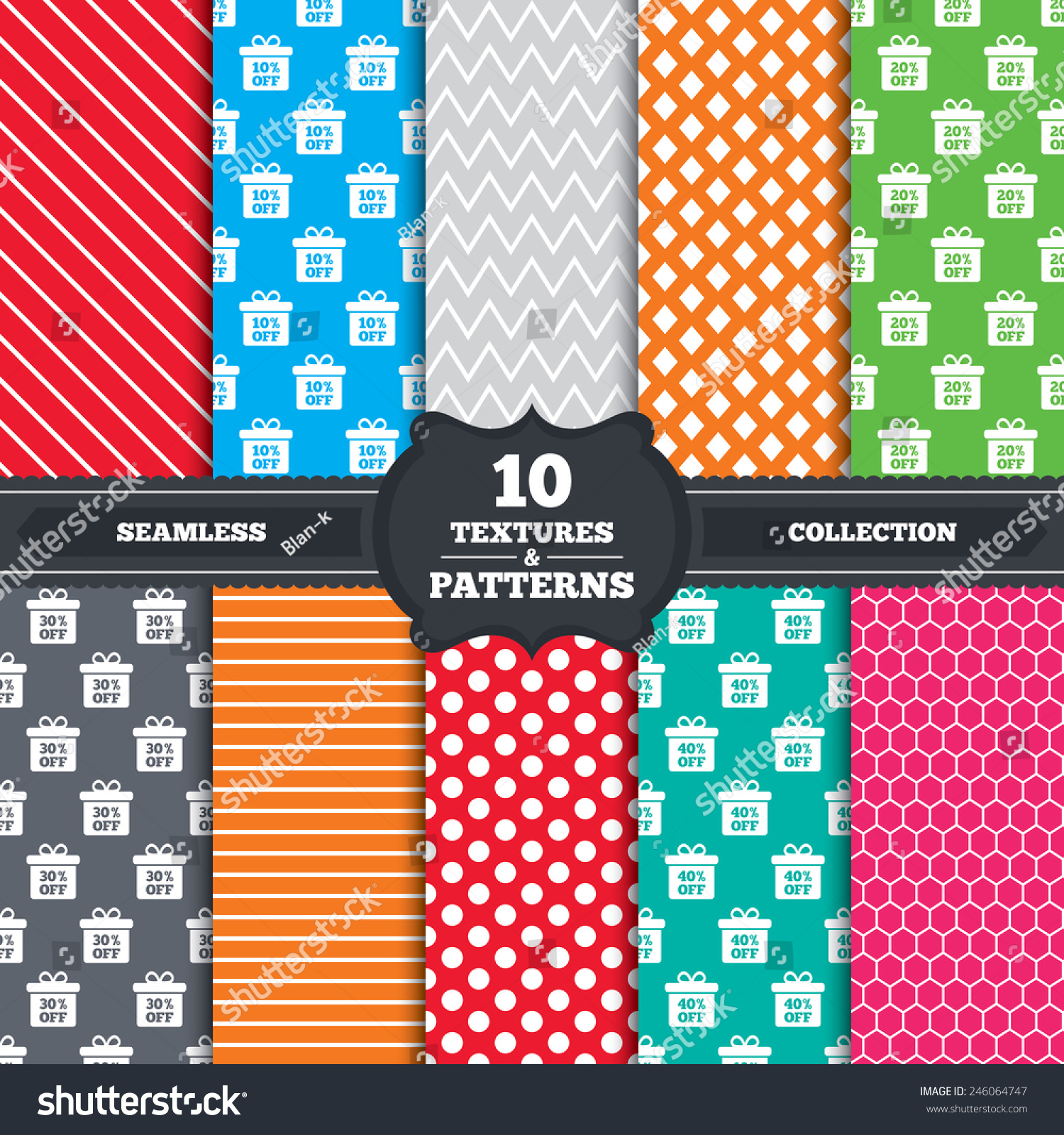 Seamless patterns textures sale gift box stock vector 246064747 seamless patterns and textures sale gift box tag icons discount special offer symbols biocorpaavc Choice Image