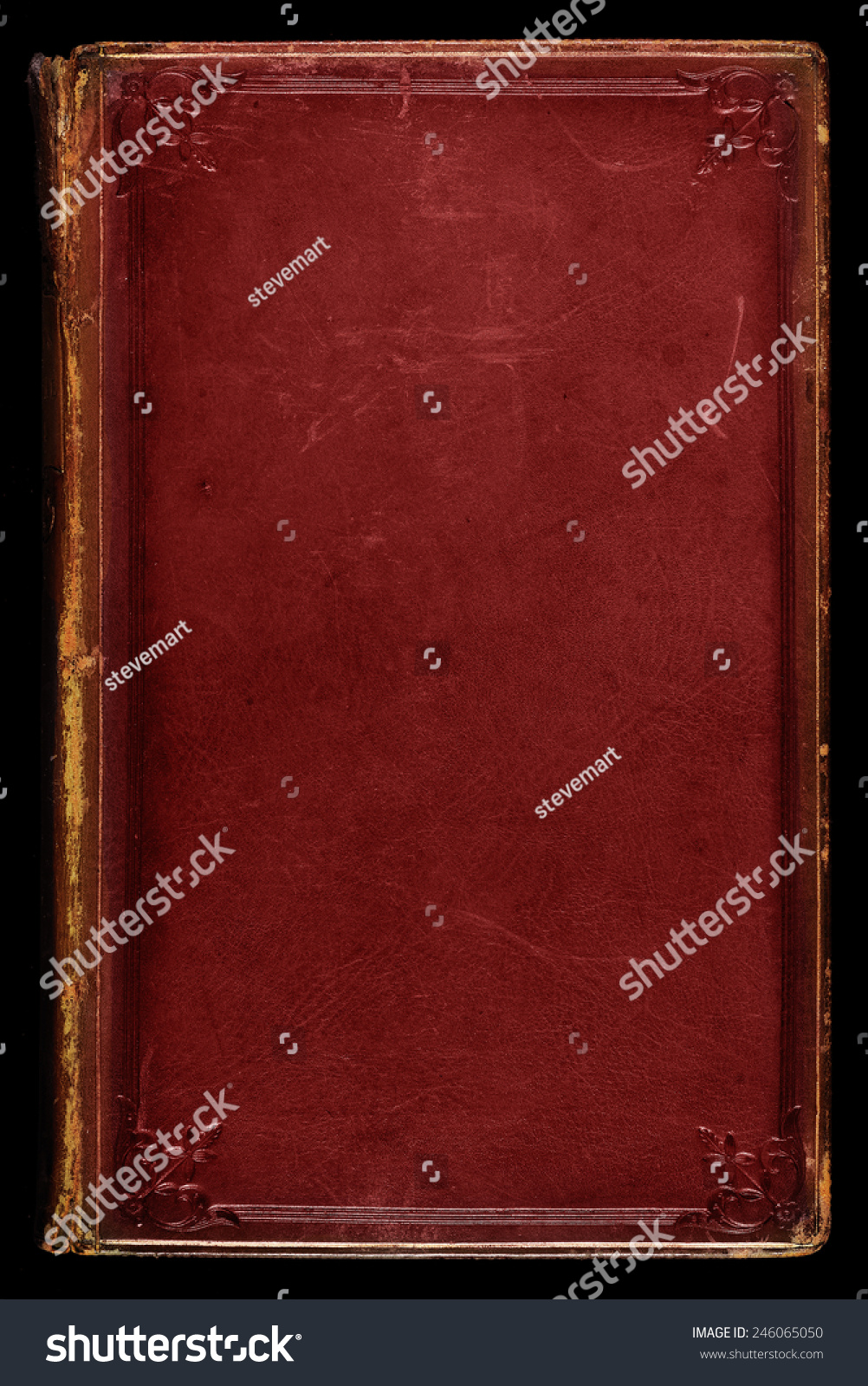 Antique Leather Book Cover Texture : Antique red leather book cover textured with age stains