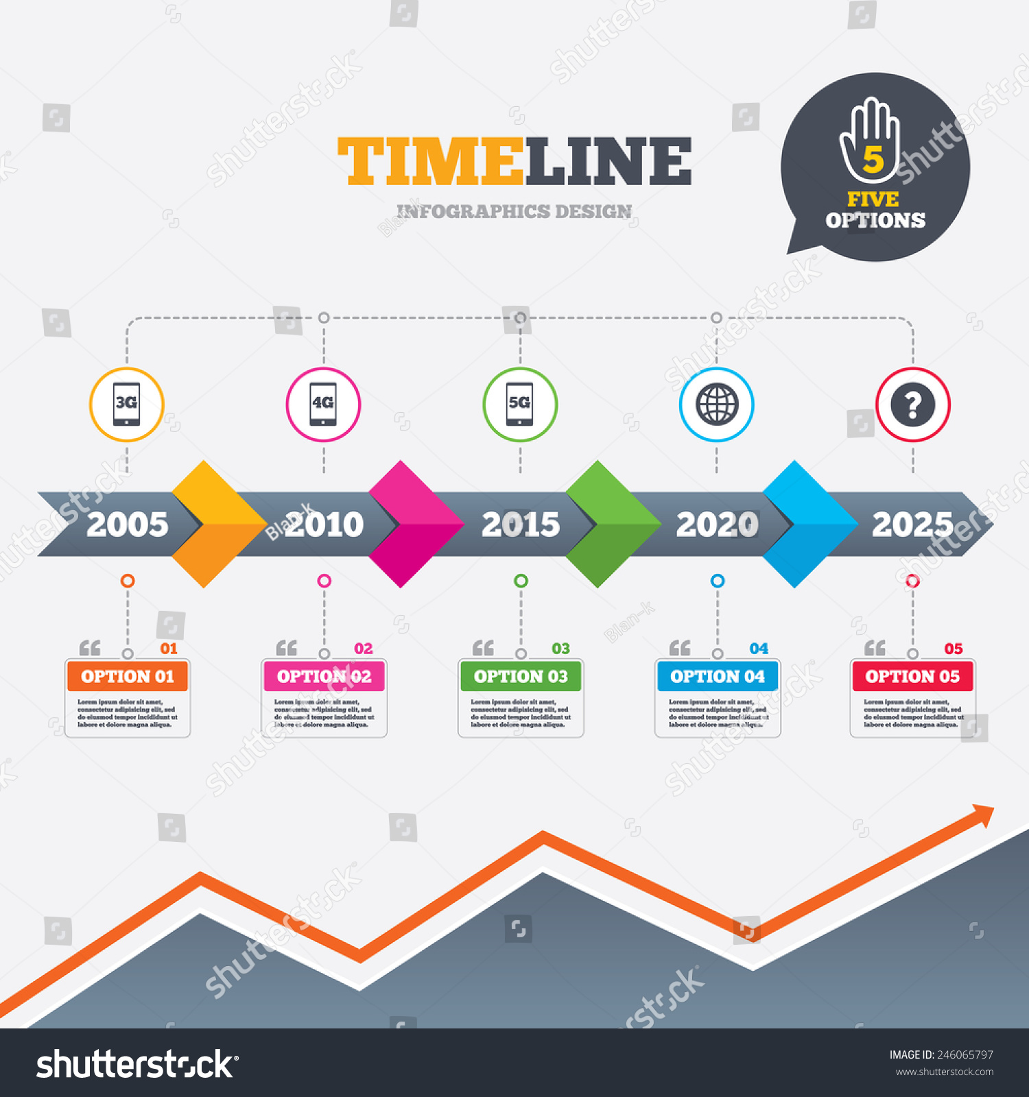 Timeline Infographic Arrows Mobile Telecommunications ...