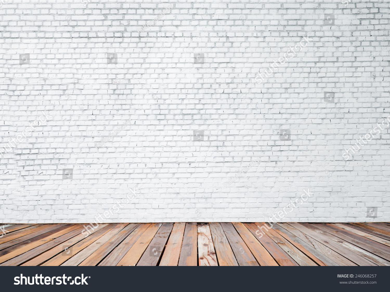 White Brick Wall Wood Floor Background Stock Photo ...