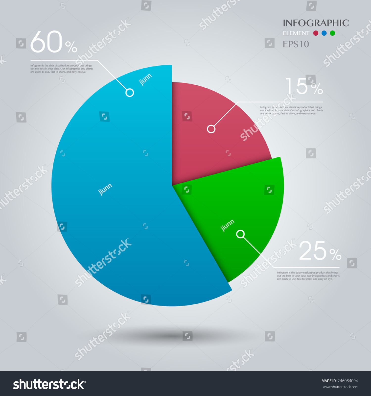 Business Pie Chart On Grey Background Stock Vector Royalty Free