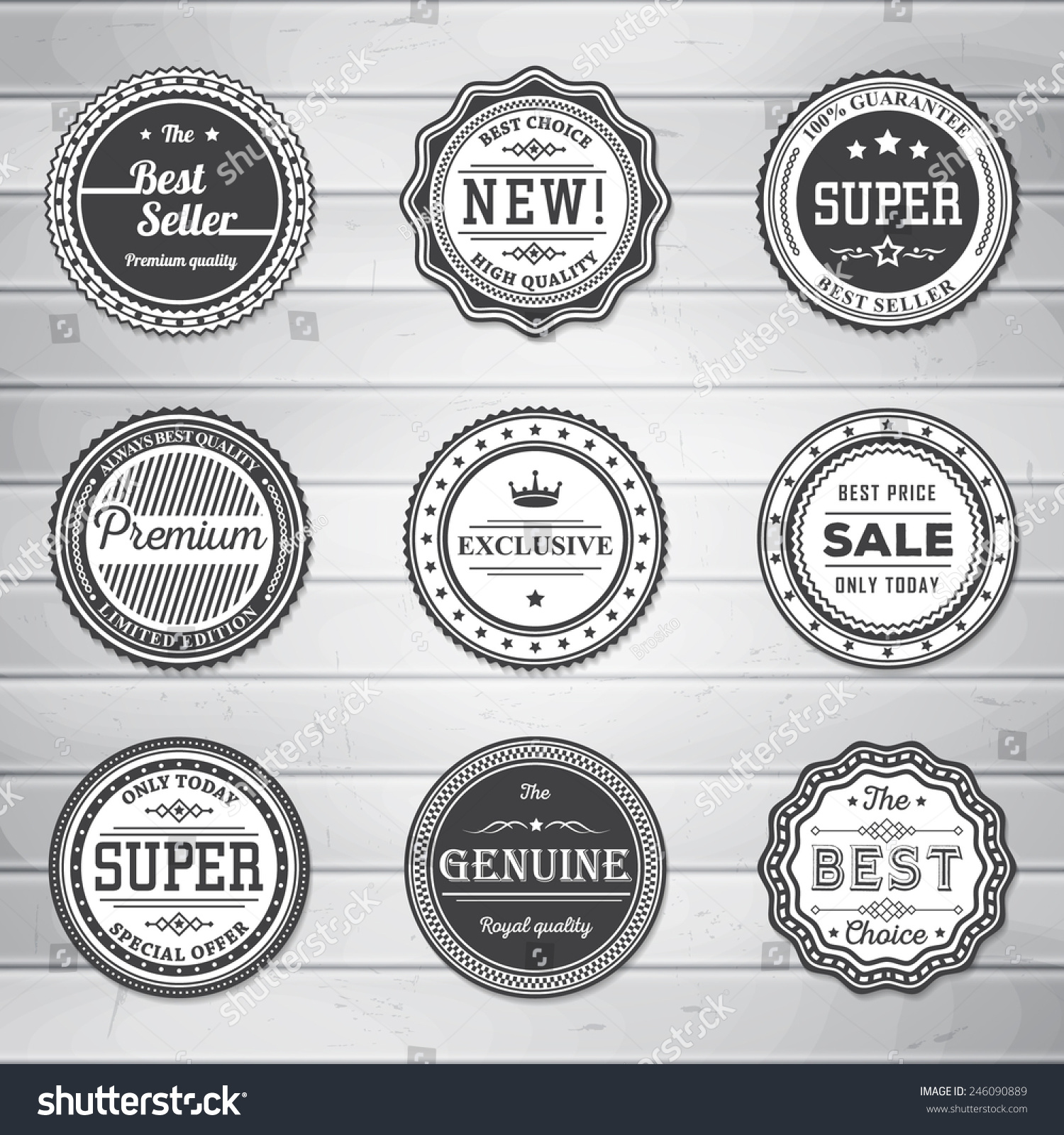 Vintage Labels Template Set Retro Badges Stock Vector 246090889