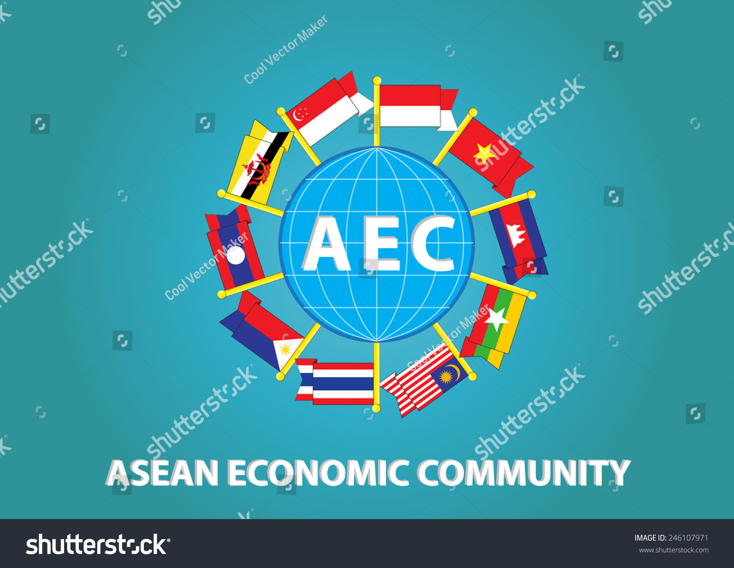Asean Flag with globe illustration, for… Stock Photo 246107971