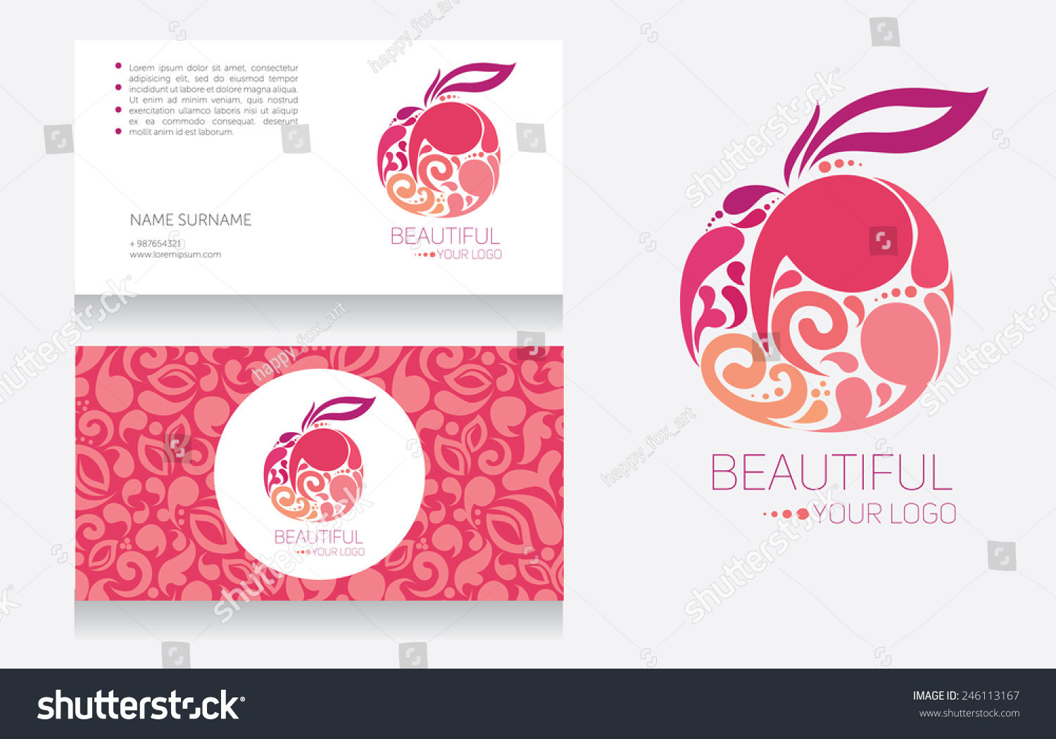 Business Cards Logo Template Pink Colors Stock Vector 246113167 ...