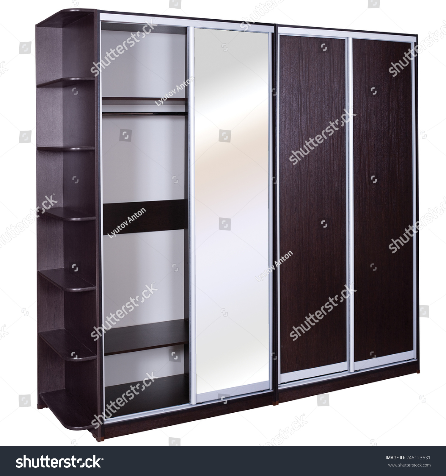 Sliding Wardrobe Piece Of Furniture Wood Storage Things Stock