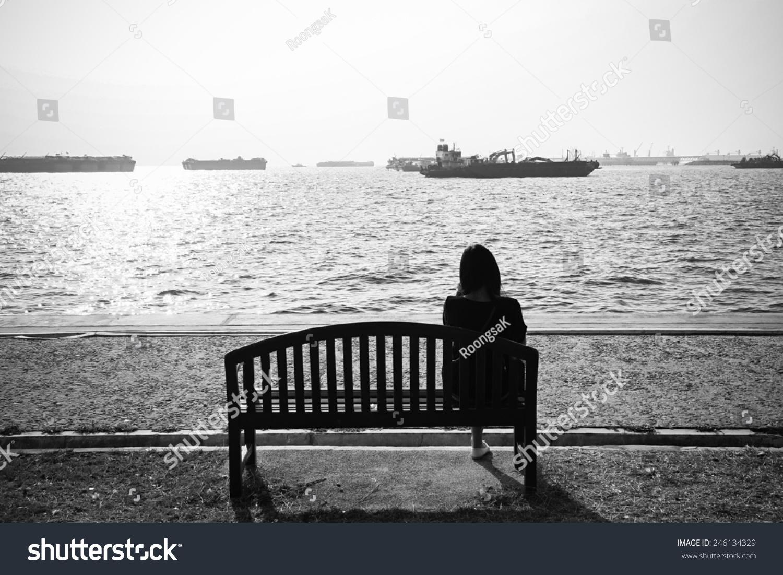 Girl Waiting Someone Sea Black White Stock Photo Edit Now