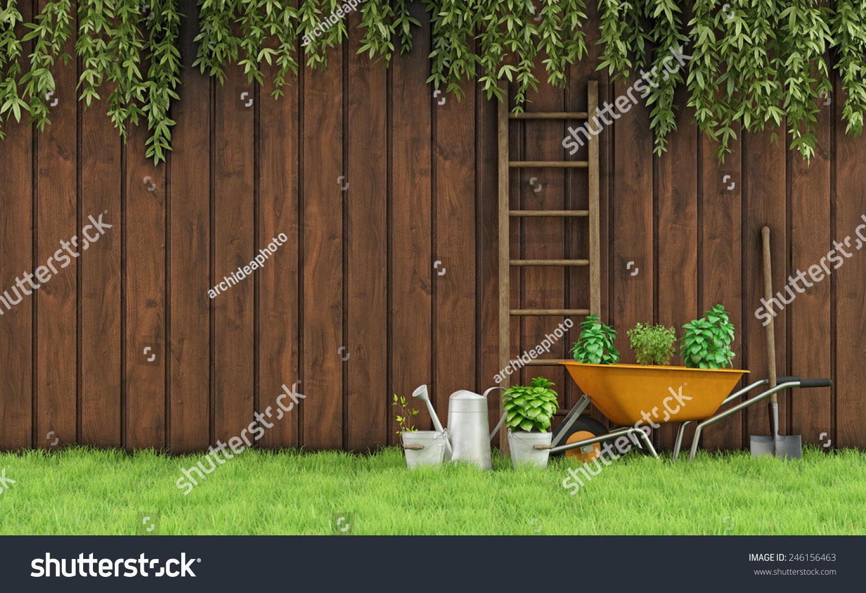 Garden old wooden fence tools gardening3d stock for Garden design 3d tools