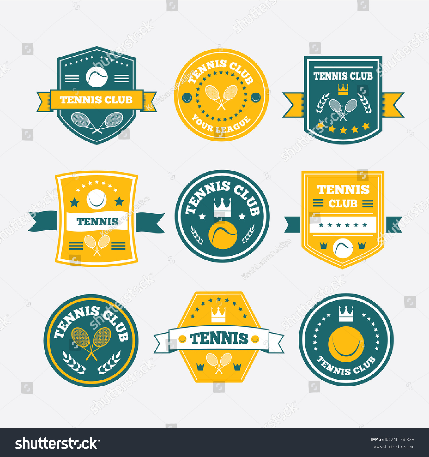 tennis sporting vintage emblems labels logos stock vector