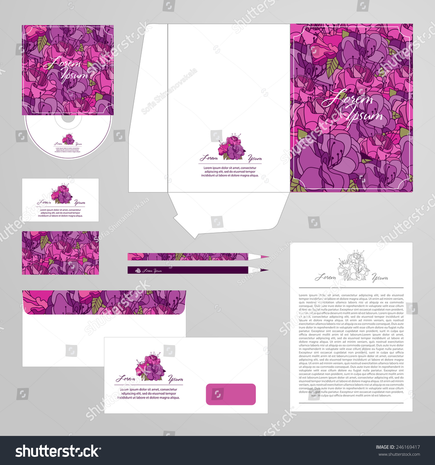 Corporate Identity Template Flower Ornament Vector Stock Vector