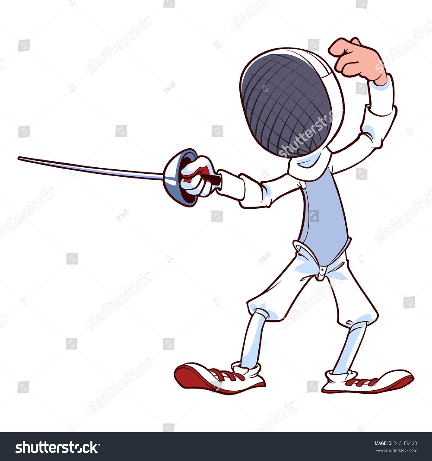 Cartoon Fencer Rapier Into Position Vector Stock Vector 246169420 ...