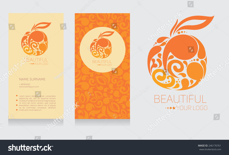Business card logo template orange colors stock vector 246176761 business card and logo template in orange colors beautiful fruit design vector illustration magicingreecefo Image collections