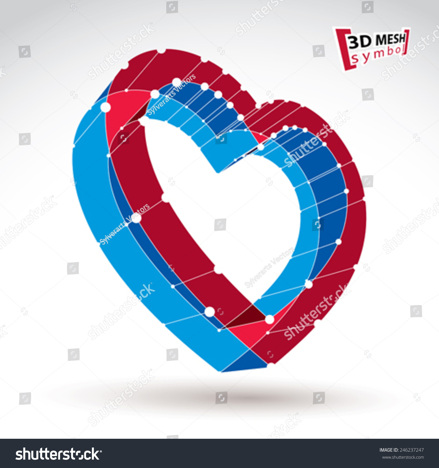3 D Mesh Stylish Web Red Love Stock Vector Royalty Free 246237247