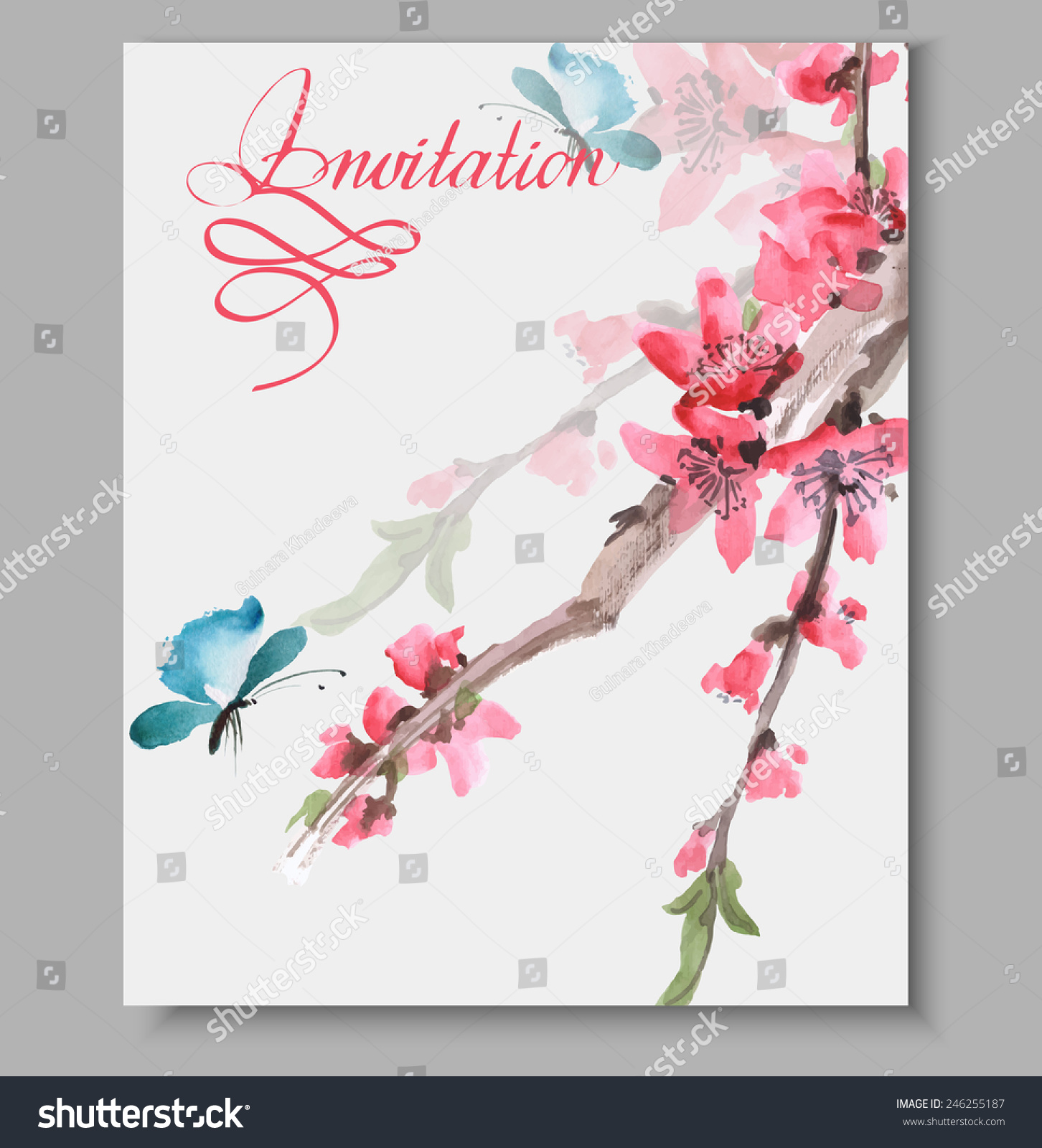 Wedding Invitation Cards Watercolor Blooming Sakura Stock Vector HD ...