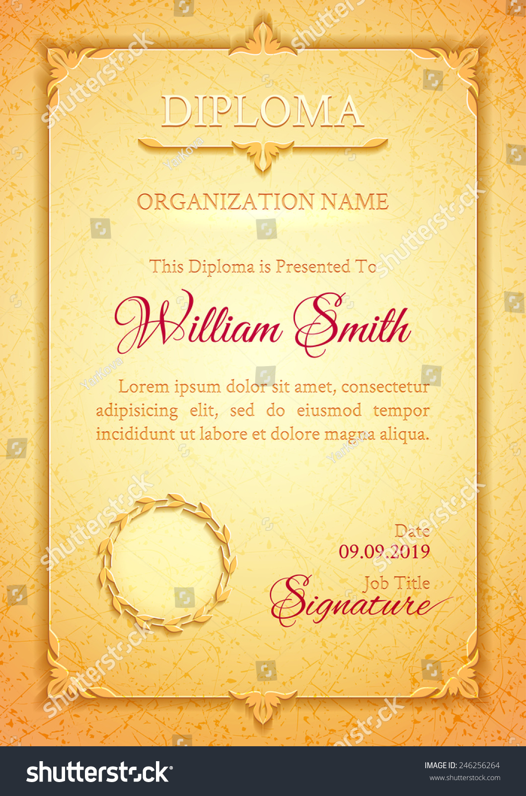 light golden classic diploma marble texture stock vector  light golden classic diploma a marble texture vintage decorative elements and frame space