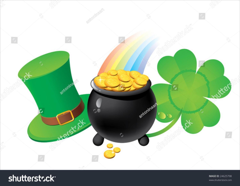 St patricks day symbols shamrock pot stock vector 24625798 st patricks day symbols shamrock pot with golden coins leprechaun biocorpaavc